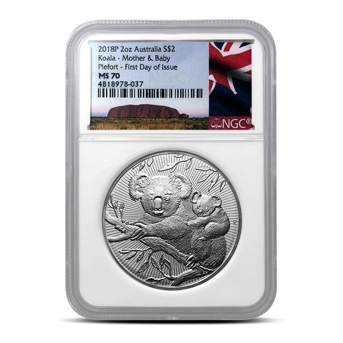 2018 2 oz Silver Koala | NGC MS70