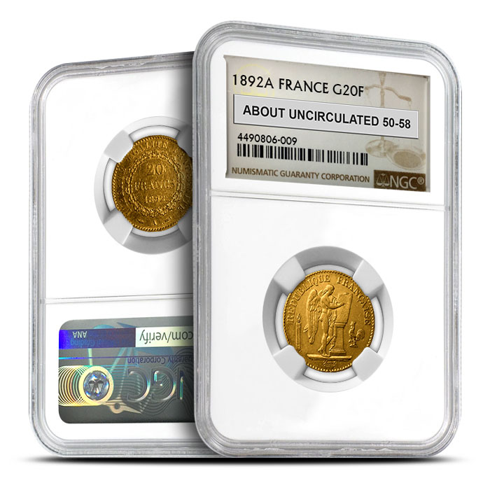 France Gold 20 Franc | Angel NGC AU