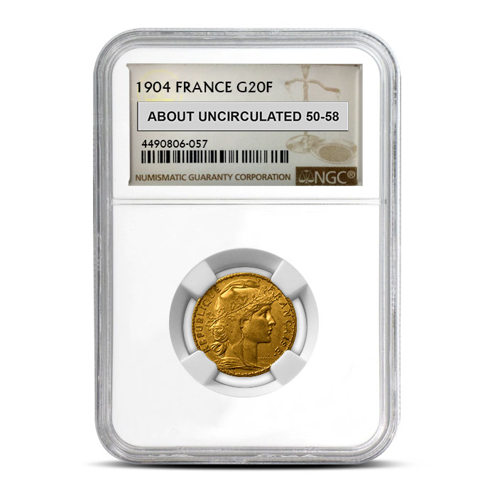 France Gold 20 Franc | Rooster NGC AU