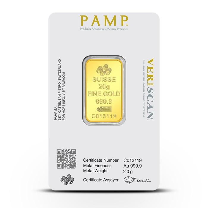 20 Gram Gold Bar Assay Certificate Card