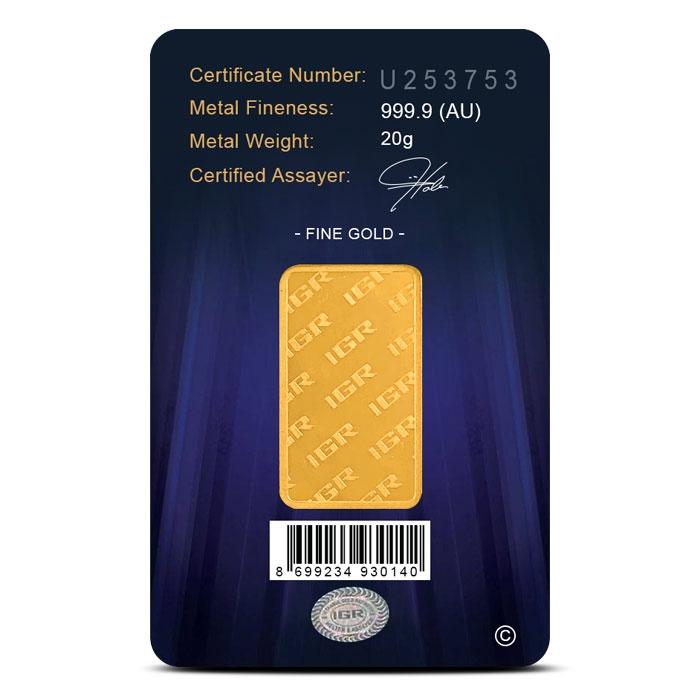 IGR 20 gram Gold Bar Reverse