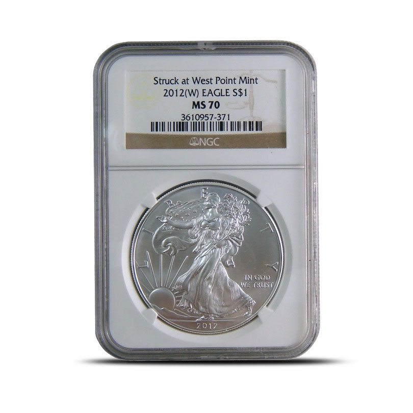 NGC MS70 2012 (W) American Silver Eagle Bullion Coin Obverse