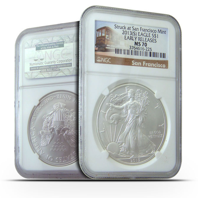 2013 S | NGC MS70 ER | American Silver Eagle | Tolley Lable