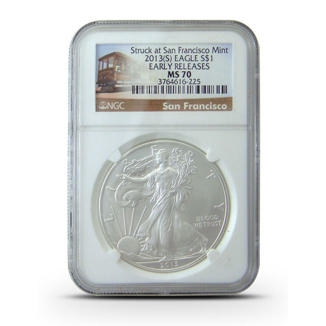 2013 S | NGC MS70 ER | American Silver Eagle | Tolley Lable Obverse