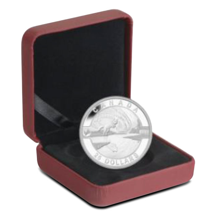 2014 1 oz Silver Proof Arctic Fox and Northern Lights   2014 O Canada Series Box