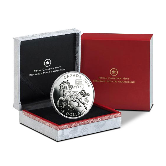 2014 1 oz Canadian Year of the Horse Silver Coin in Box