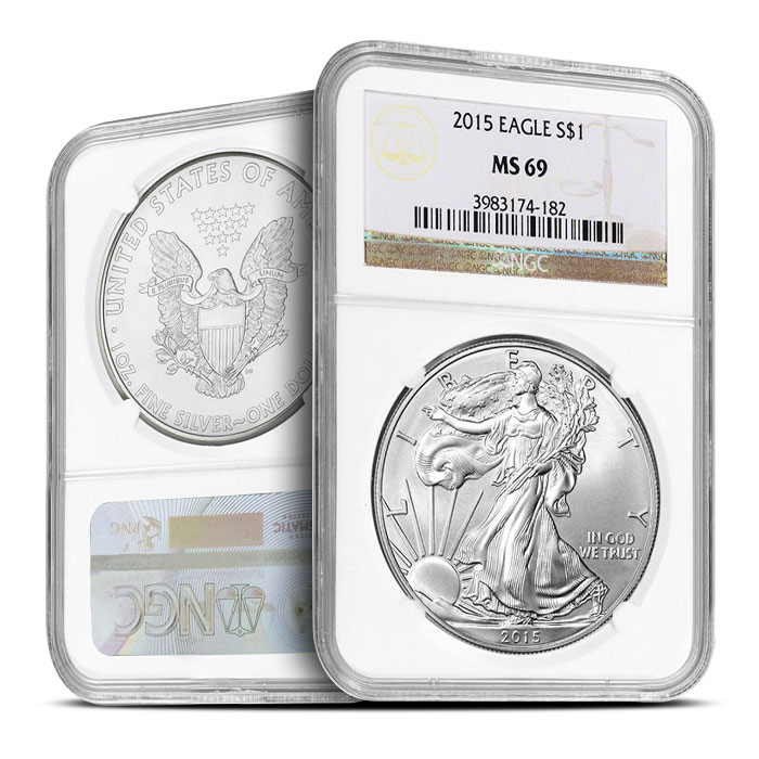 2015 1 oz American Silver Eagle NGC MS69