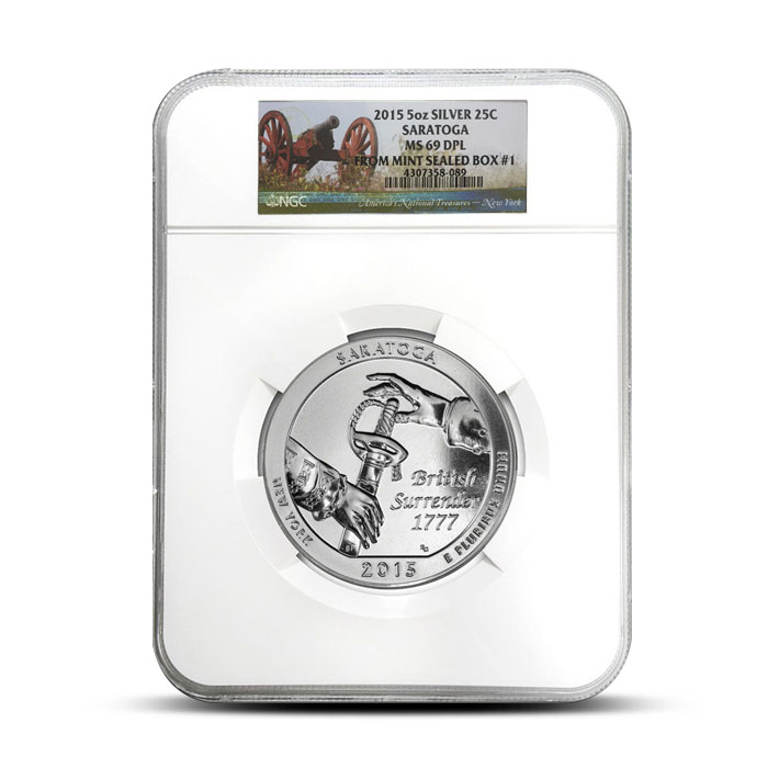 2015 5 oz Silver Saratoga ATB - NGC MS69 DPL | Mint Sealed Box #1