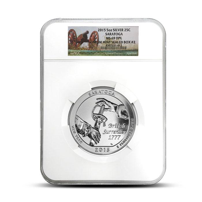 2015 5 oz Silver Saratoga ATB - NGC MS69 DPL | Mint Sealed Box #2