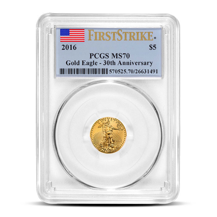 2016 1/10 oz American Gold Eagle PCGS MS70   First Strike