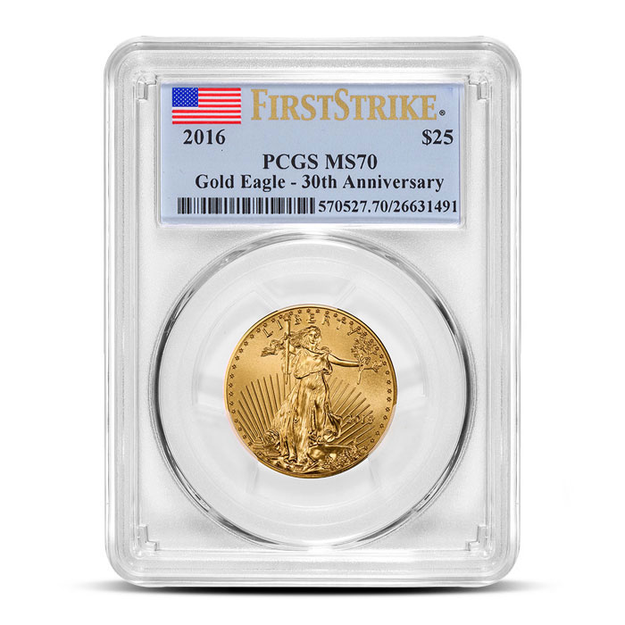 2016 1/2 oz American Gold Eagle PCGS MS70 | First Strike