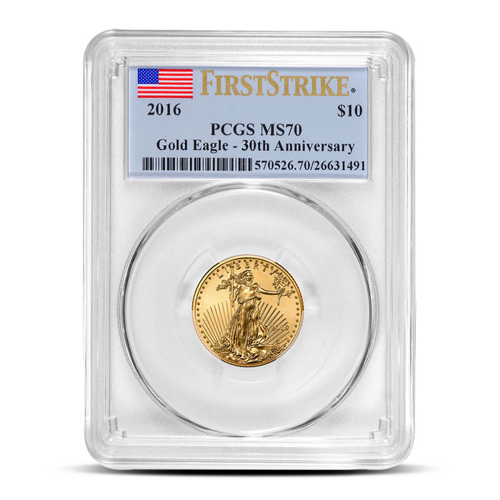 2016 1/4 oz American Gold Eagle PCGS MS70   First Strike