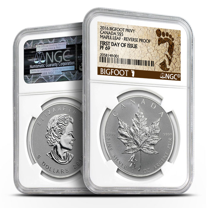 2016 Canadian Silver Maple Bigfoot Privy - First Day of Issue   NGC Proof PF69