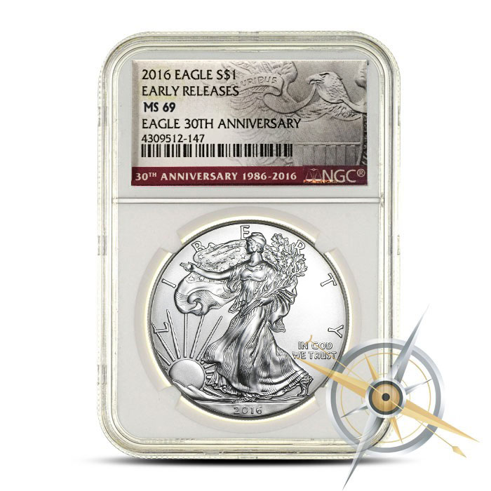 2016 1 oz American Silver Eagle NGC MS69 | 30th Anniversary