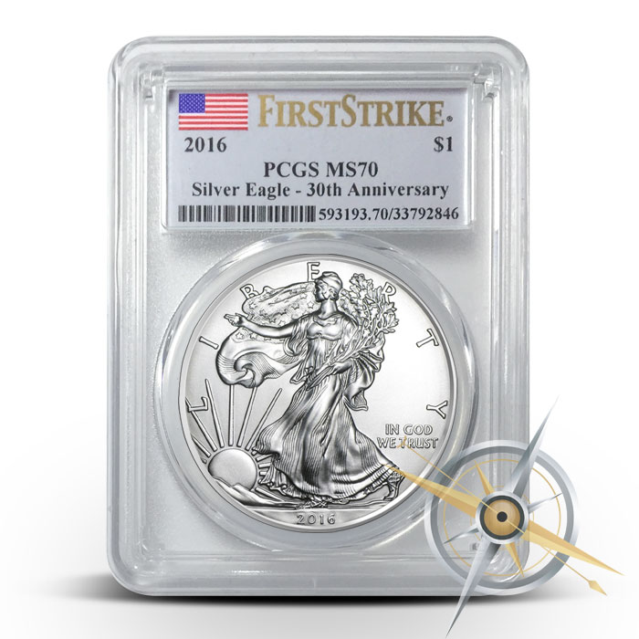 2016 1 oz American Silver Eagle PCGS MS70 | Flag Label First Strike