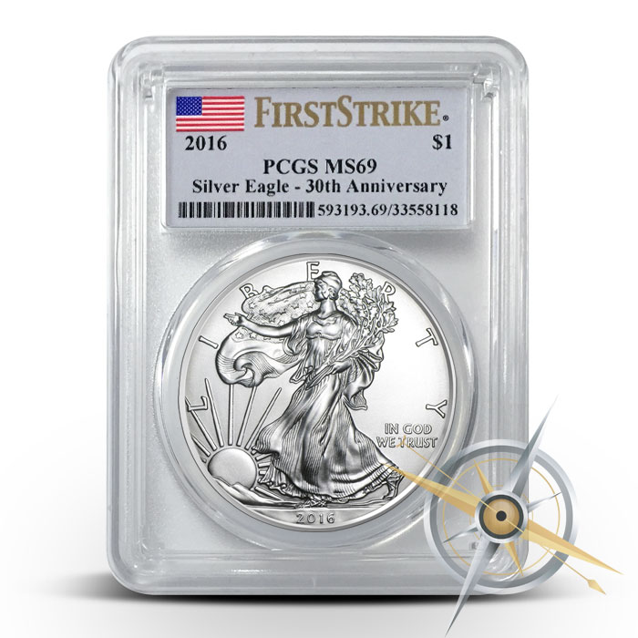 2016 1 oz American Silver Eagle PCGS MS69 | Flag Label First Strike