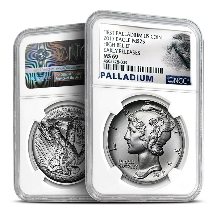 2017 1 oz American Palladium Eagle Obverse & Reverse
