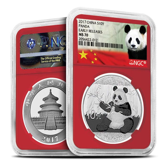 2017 Chinese Silver Panda | Red Core