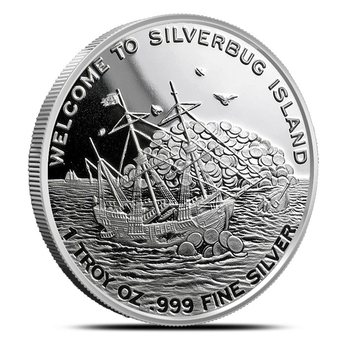 Silverbug Island Whirlpool 1 oz Proof Silver Round Reverse