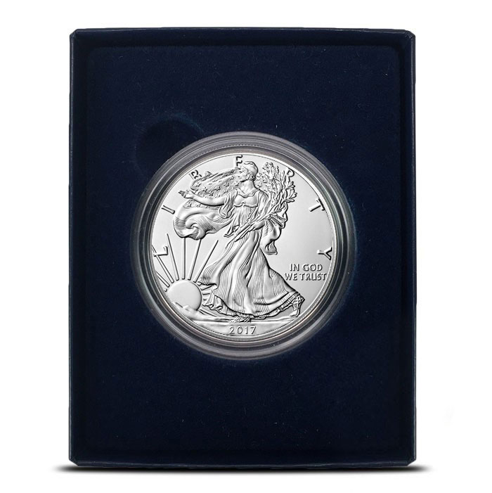 2017-W Burnished Silver Eagle In Box