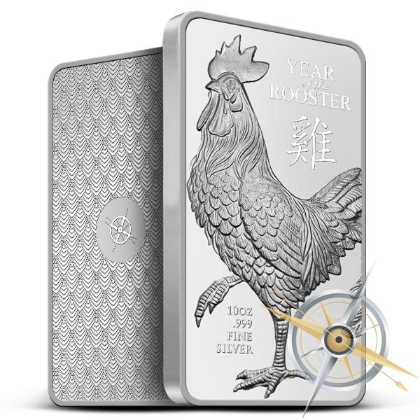 Provident Lunar Rooster 10 oz Silver Bar