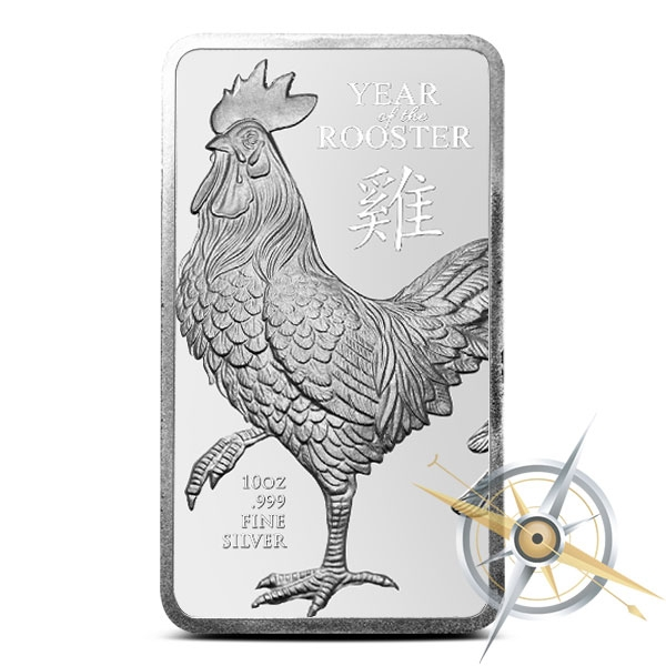 10 oz Year of the Rooster Silver Bar