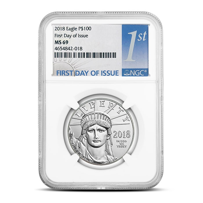 2018 1 oz American Platinum Eagle   NGC MS69 First Day of Issue