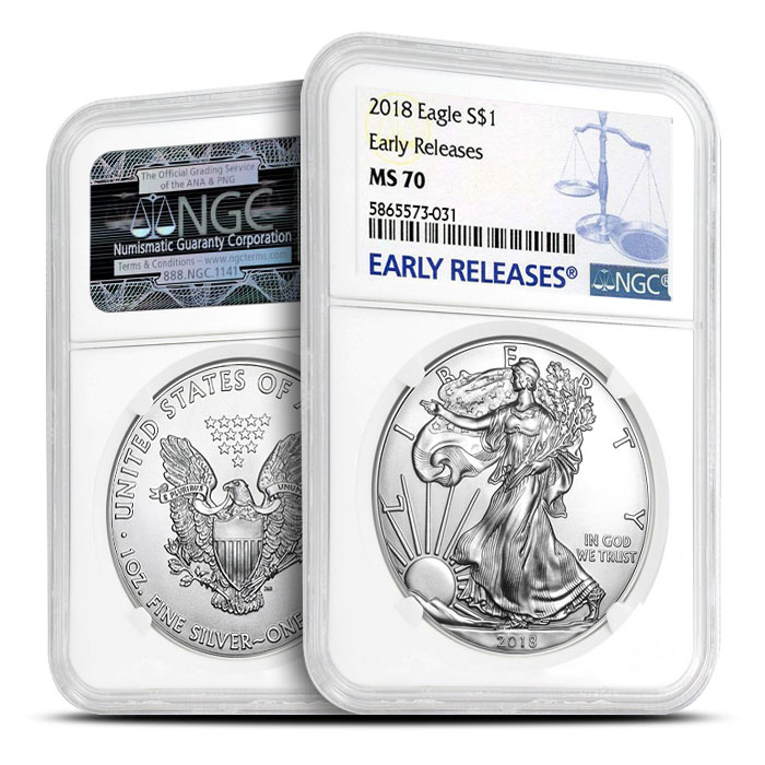 2018 Silver American Eagle NGC MS69 Early Release