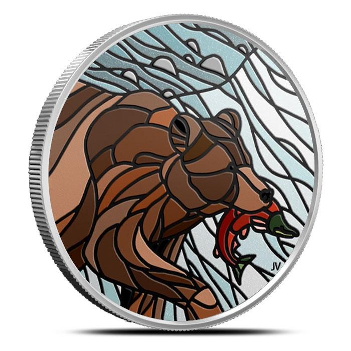 2018 Canadian 1 oz Silver Mosaics | Grizzly Bear