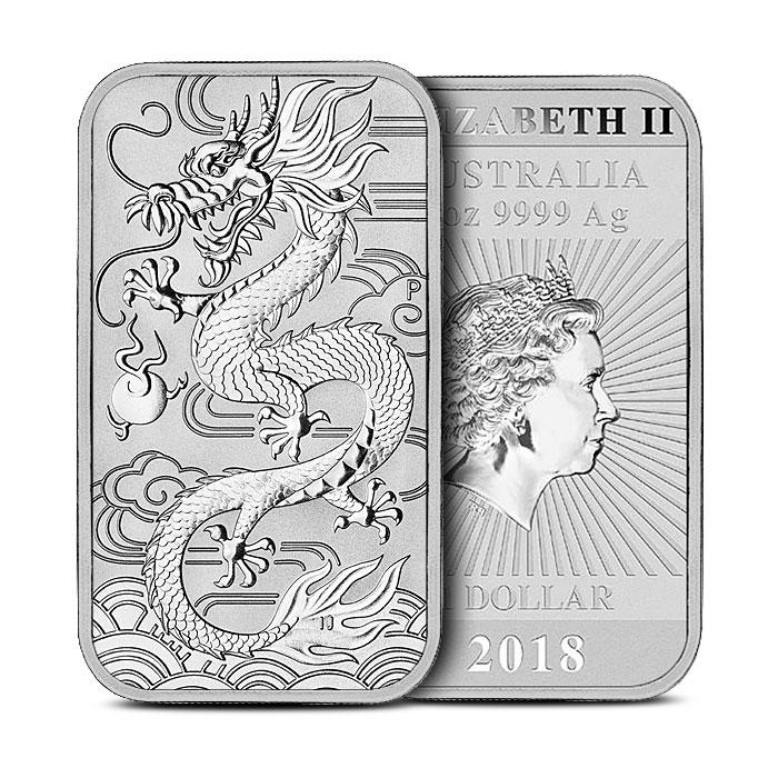 2018 Australia 1 oz Silver Dragon Bar Coin