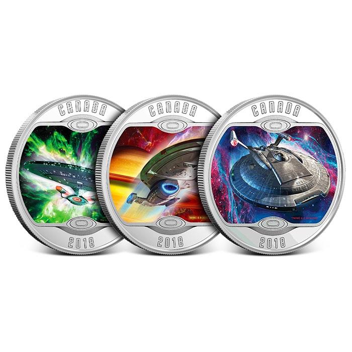 2018 Star Trek $10 Fine Silver 3-Coin Set | Iconic Starships