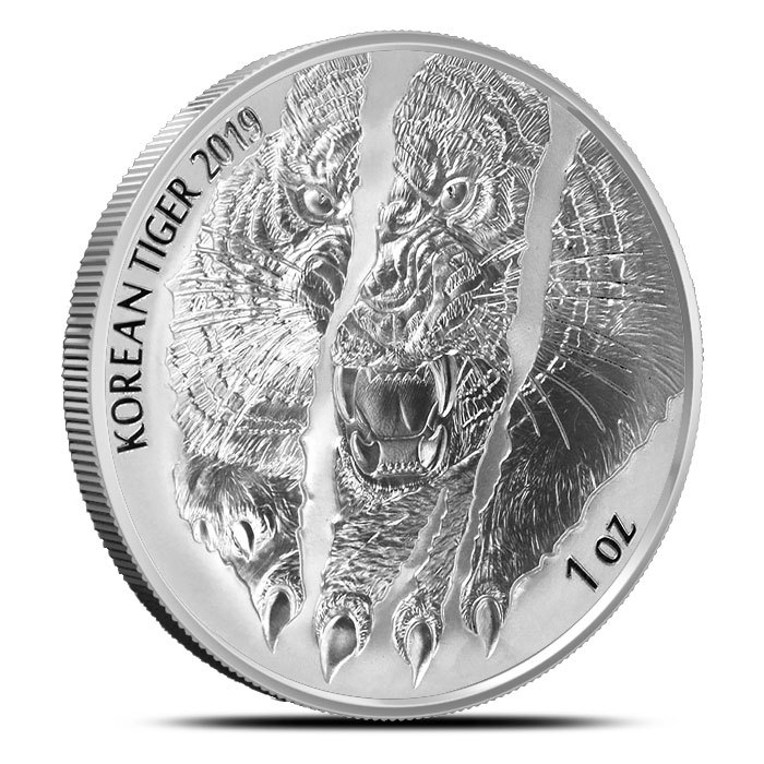 2019 South Korea 1 oz Silver Tiger Obverse