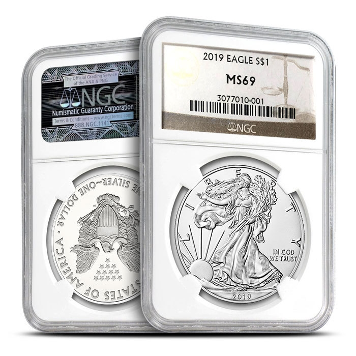 2019 Silver American Eagle | NGC MS69 Obverse & Reverse