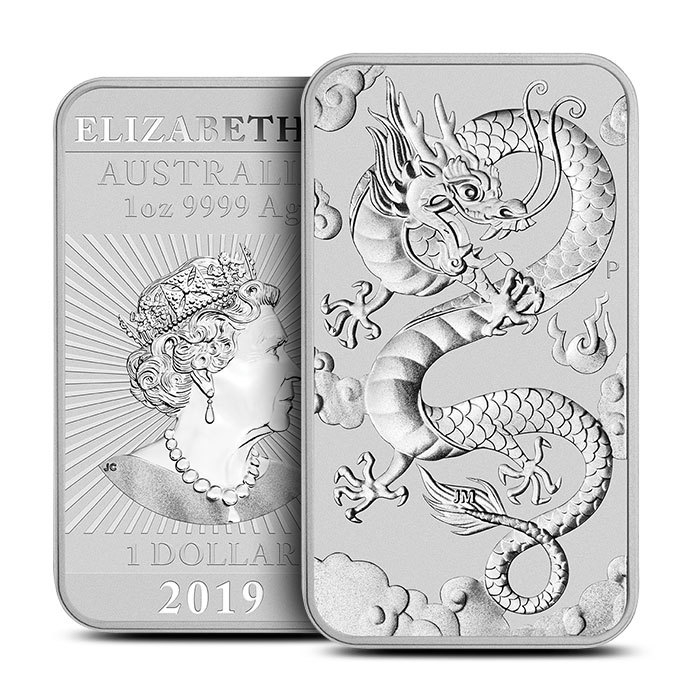 2019 Australia 1 oz Silver Dragon Bar Coin