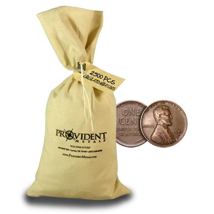 2500 pc Bag of Lincoln Wheat Cents