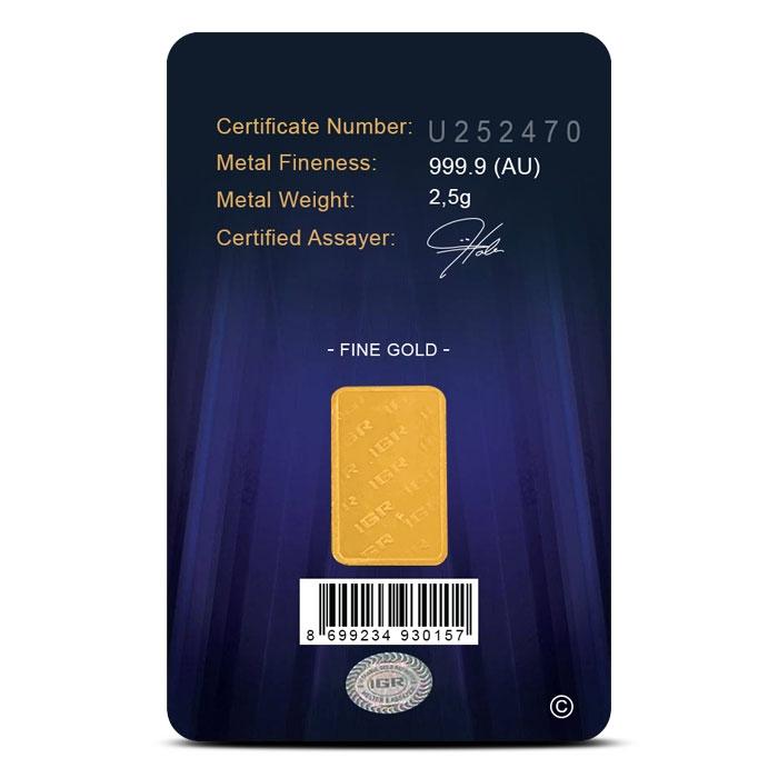 IGR 2.5 gram Gold Bar Reverse