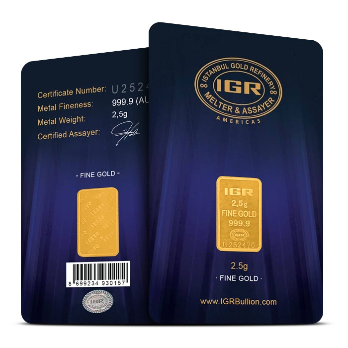 2.5 gram Gold Bar | IGR in Assay Card