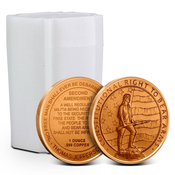 1 oz Copper Round | 2nd Amendment Tube
