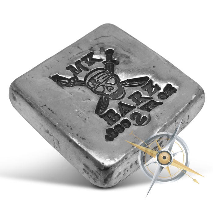 Skull and Swords 2 oz Silver Bar
