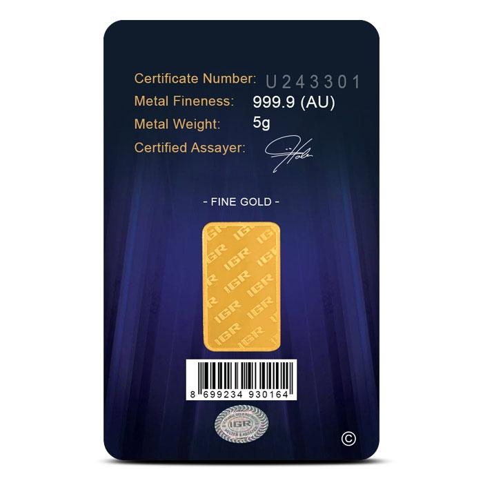 IGR 5 gram Gold Bar Reverse