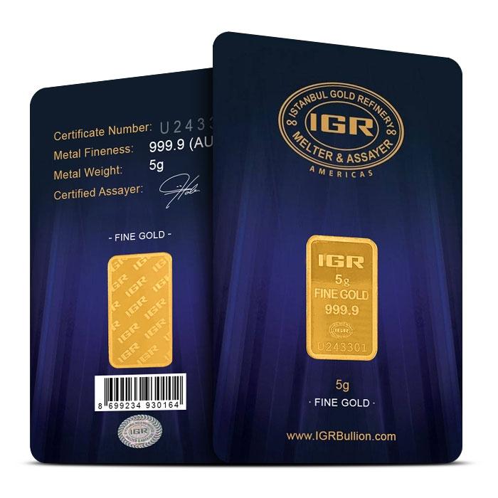 5 gram Gold Bar | IGR in Assay Card