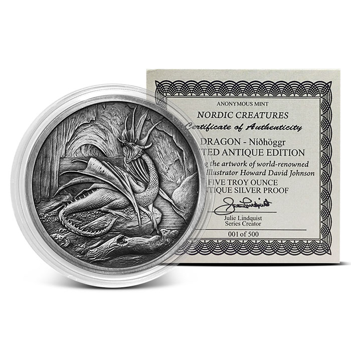 Antiqued Silver Nidhoggr Coin
