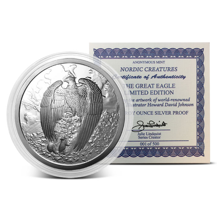 Proof Great Eagle 5 oz Silver Round