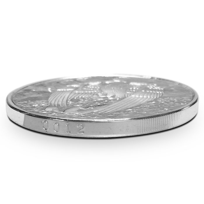 Proof Great Eagle 5 oz Silver Round   Edge Number