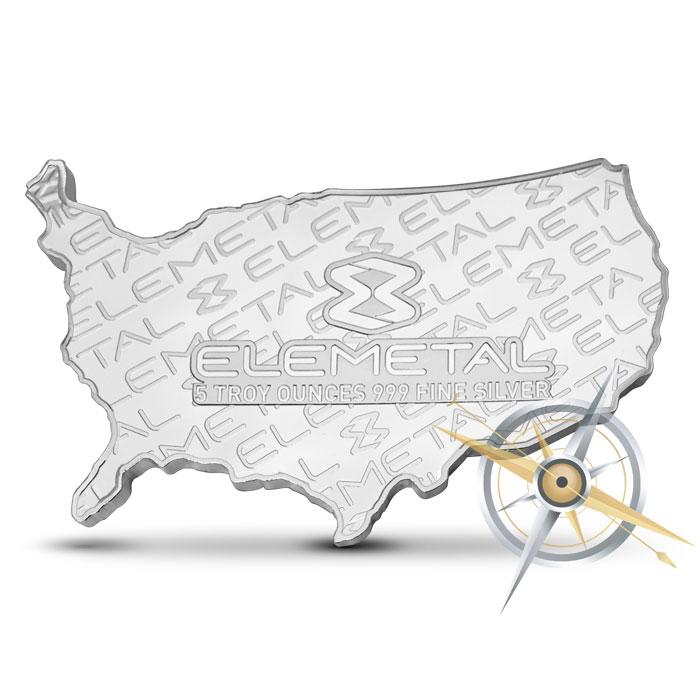 Elemetal five ounce Silver USA Bar