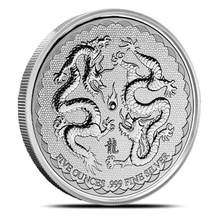 2018 Niue 5 oz Silver Double Dragon