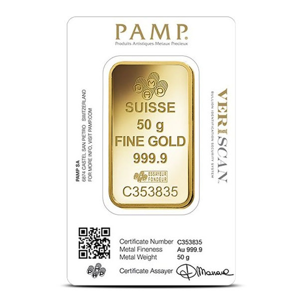 50 gram Gold Bar PAMP Fortuna Back