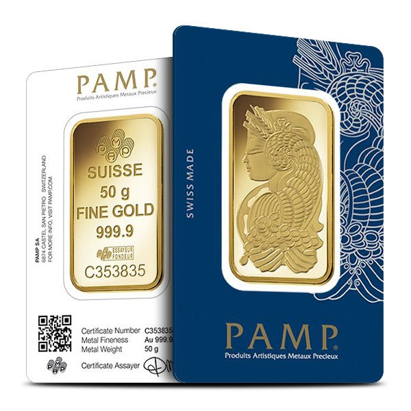 50 gram Gold Bar PAMP Fortuna Side by Side