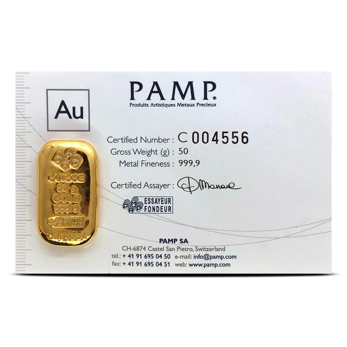 50 gram PAMP Suisse Gold Bar with Assay Card