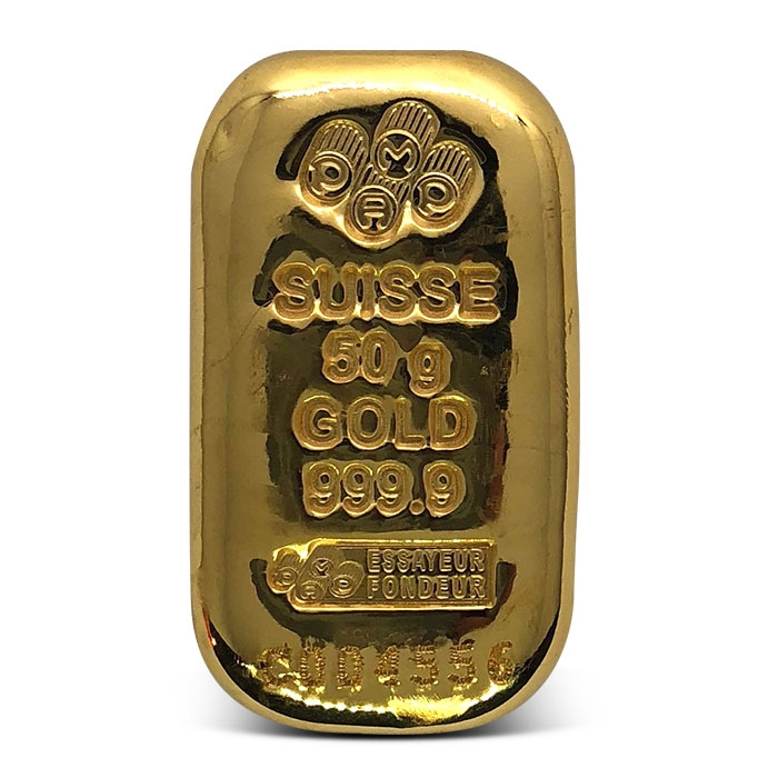 PAMP Suisse 50 gram Gold Bar with Serial Number